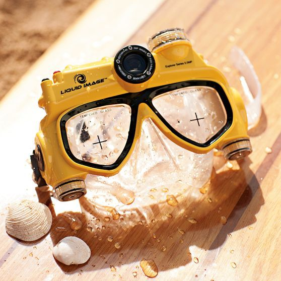 Underwater Video Camera Mask | PBteen Pretty cool for me! I can't dive any deeper than a pool depth {unlike my husband, rescue scuba diver} but to shoot some underwater stuff!? Neat!
