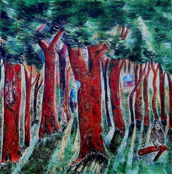 IL BOSCO DI PINI 80x80 cm 2500 euro  di GRossi Artista su DaWanda.com
