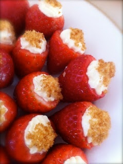 Bite sized yumminess - cheesecake filled strawberries