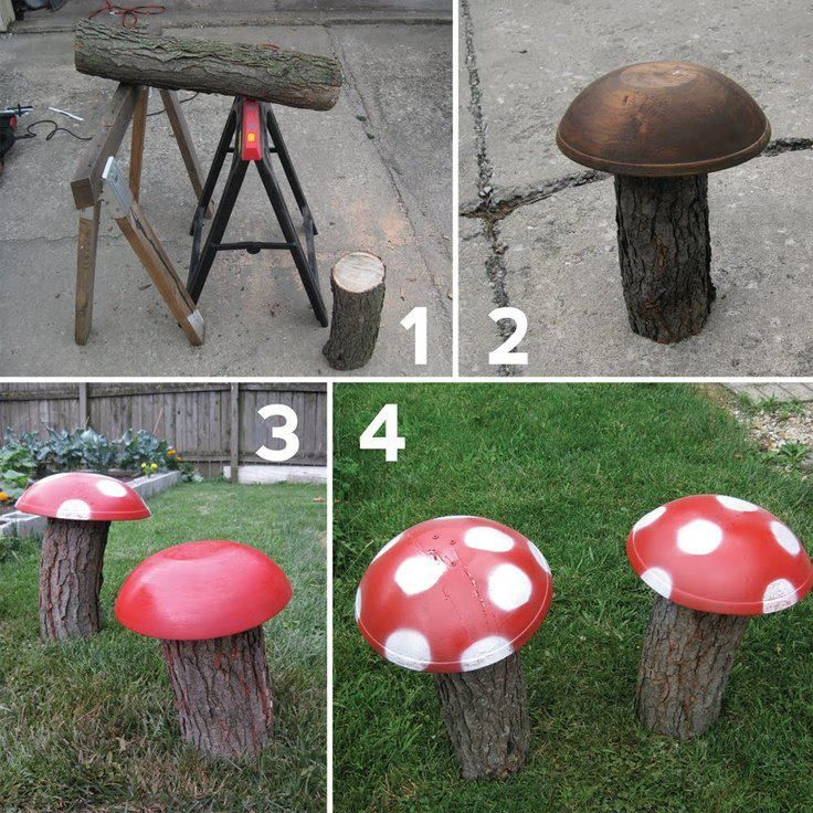 Garden Mushrooms great idea for a natural play space or fairy garden addition.