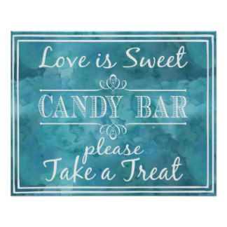 wedding sign water-colour candy bar love is sweet print