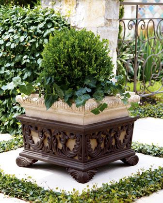 Square Planter with Stand - Add form and function to your patio with this square planter embellished with a leaf-scroll design. An aged limestone and dark brown finish adds to its appeal.