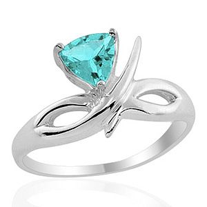 65CTW Genuine High Finish Blue Topaz Silver Ring Code: RGR0624 Size