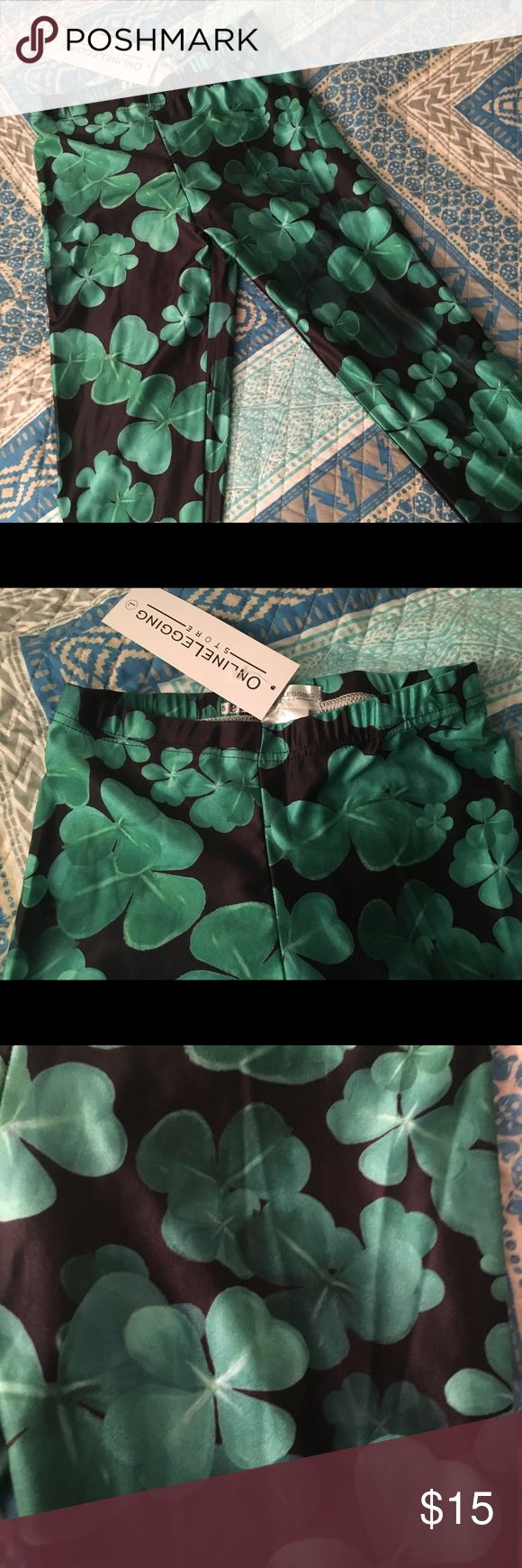 Clover leaf leggings Black leggings with green clover leaf design perfect for St. Patty's ... only selling because I didn't end up wearing them with my outfit last year Online Legging Store Pants Leggings
