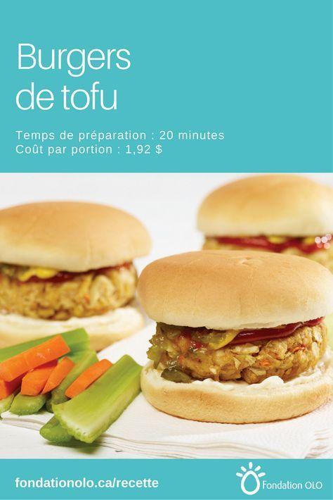 Recette de burger de tofu, une version savoureuse d'un classique apprécié. Seulement 1,92$ par portion. Se prépare en 20 minutes. --- Recette facile, Recette économique, Recette rapide, Recette nutritive --- #Hamburger #Tofu