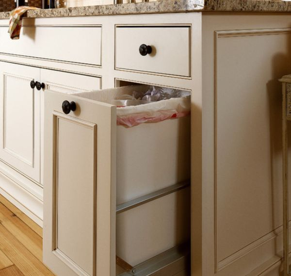 Custom Kitchen Elegant Kitchen Trash Bins Design For Traditional Kitchen Kitchen Trash Can Wooden Designs Bin Cabinet Recycle Cans Pull Out Shelves Garbage Storage Pantry Design Pull-Out Trash Bin Design Good Solution To Store Your Trash Bin