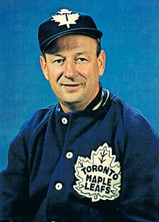 punch imlach, coach of the toronto maple leafs through four stanley cup wins