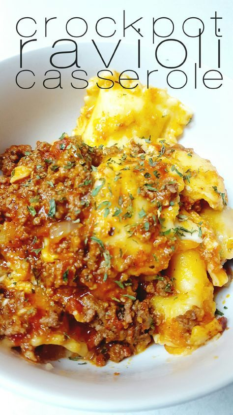 Ingredients •1 tablespoon olive oil •1 medium chopped onion •2 large garlic cloves, minced •1 pound lean ground beef •1 (26 ounce) can marinara •1 (15 ounce) tomato sauce •1 teaspoon Italian seasoning •1 (25 ounce) package of cheese ravioli •3 cups shredded mozzarella •1/4 cup parsley •salt and pepper to taste