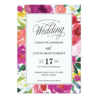 モダンな花の水彩画の結婚式招待状 12.7 X 17.8 インビテーションカード