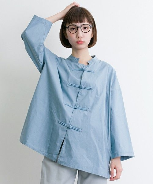 merlot(メルロー)の「チャイナボタンシャツ5789(シャツ/ブラウス)」 ライトブルー