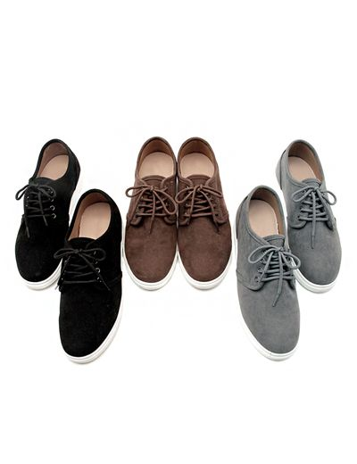 There is no need to forgo sophistication for casual affairs with these plain suede lace up shoes. They are a classic with smart but comfortable styling to boot! Use these with your polo shirt or pullover and match the with tapered pants for a clean look to impress your female friends! - Round toes - Lace up closure - Flat soles - Low-top - Colors: Brown, Black, Gray