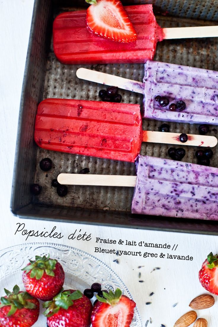 summer pops with strawberry & almond milk / blueberry, greek yogurt & lavender