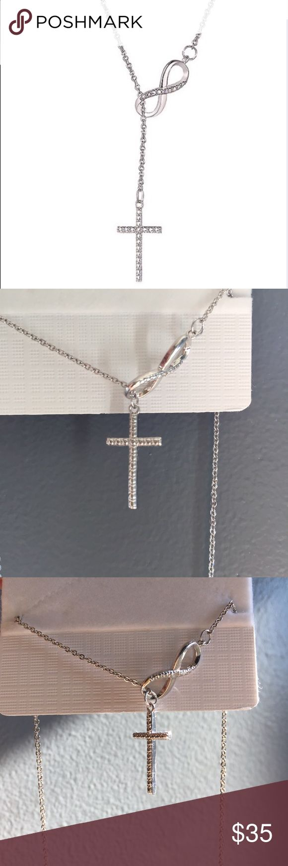NWT White Gold Infinity & Cross Very elegant infinity & Cross necklace. NWT packaged in dust bag & box. Great Christmas gift! Jewelry Necklaces