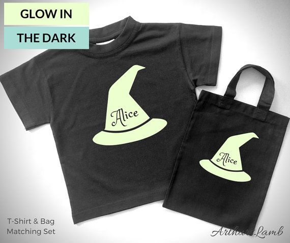 At Halloween little girls love witches, but witchcraft is not just for halloween!! And with this matching personalised Glow in the Dark Witch Hat t-shirt and Halloween Trick or Treat Bag set you are sure to stand out!! So whether you are looking for a first Halloween costume, Halloween treat bags a Halloween gift or something to wear all year round, this shirt and goody bag personalised with any name will be a much loved addition!! When ordering, please note the name required in Comments to…