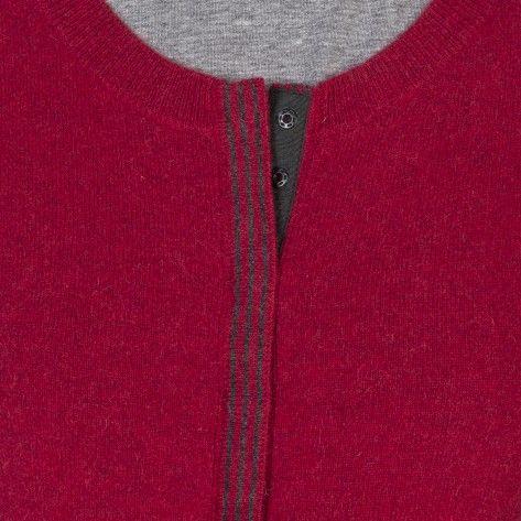 Cardigan bicolore 1 poche cachemire rouge foncé Greta  #cachemire #montagutparis #mode #modefemme #fashion #maille #look  #FW15 #pull  #rouge #chic #style
