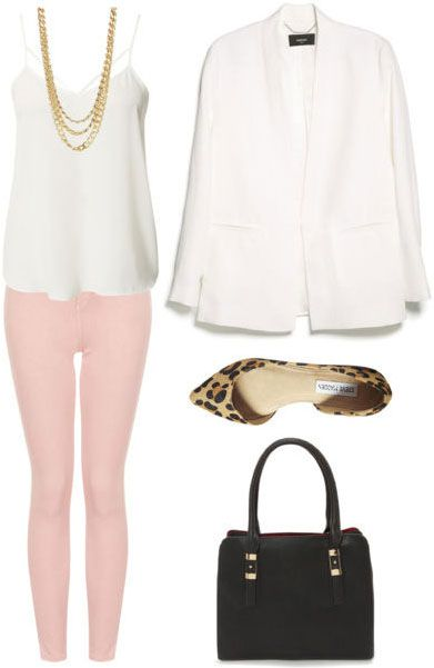 Grad school outfit: Colored denim, polished tank, cream-colored blazer, flats, handbag