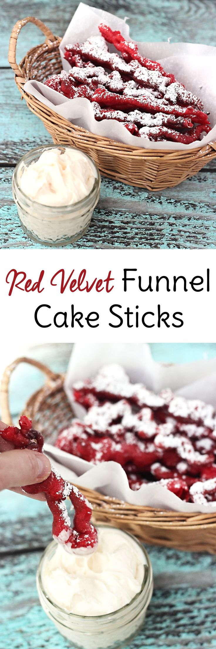 Red Velvet Funnel Cake Sticks: Whether you call them funnel cake fries or funnel cake sticks, this copycat recipe of the beloved fair food is served red velvet style with cream cheese frosting for dipping. It's a dessert to die for!
