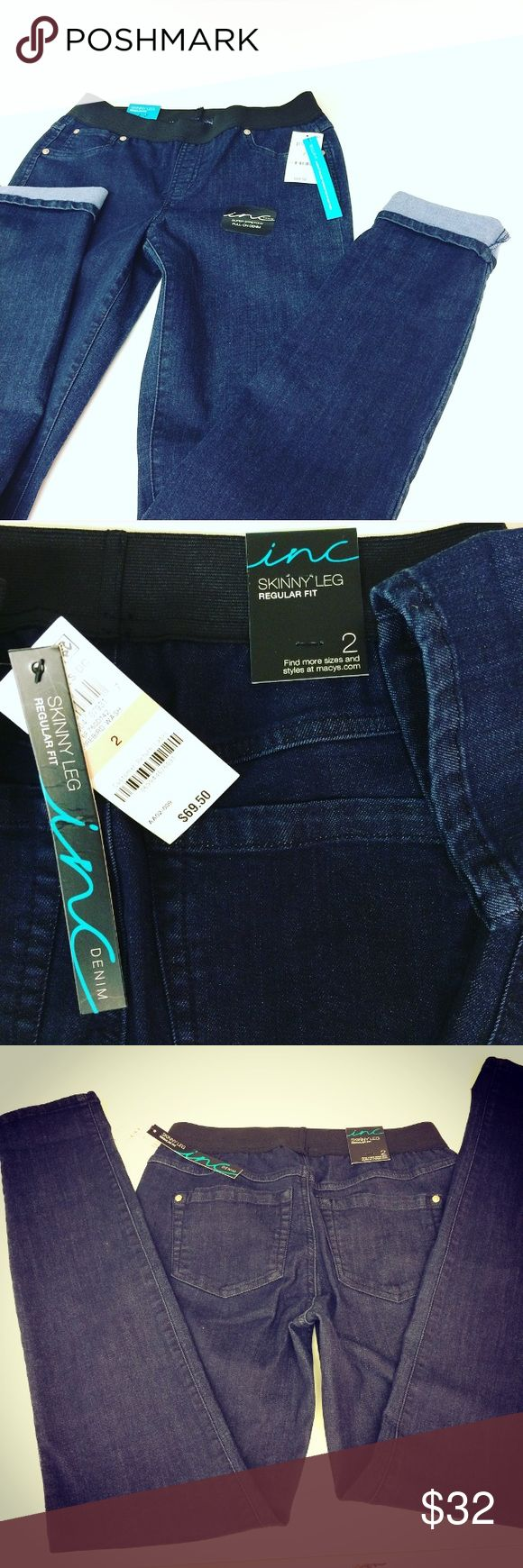 NWT Inc skinny jeans dark wash jegging pant 2 4 6 Same or next day shipping! So figure flattering booty popping, slimming! New with $69.50 price tags attached. Dark wash blue jeans/ jeggings Designer - INC Waist (stretch elastic) 26 to 30 inch Rise - 9 inch mid to high rise Inseam-  32 inch Skinny leg , very stretchy, fits sizes 2-6 Tagged size 2 has elastic waistband. These are dark blue not black. Faye front pockets, real back pockets, full length! Dress up or down Tags # pants womens…