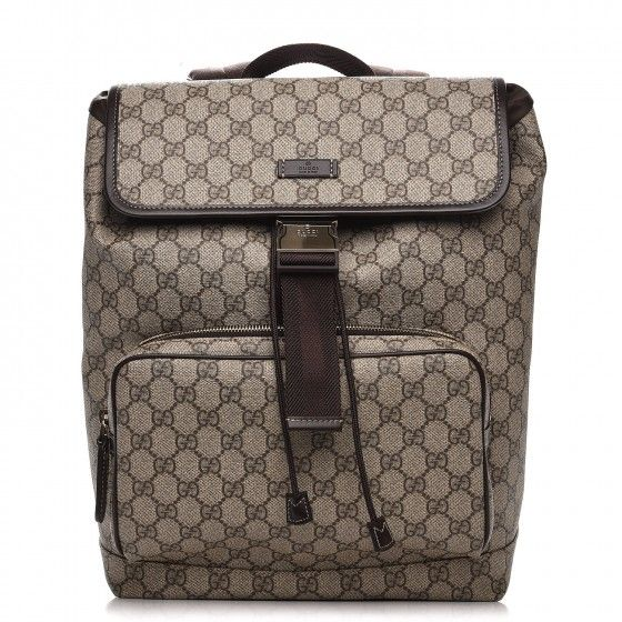 This is an authentic GUCCI GG Supreme Monogram Medium Backpack in Brown. This is a chic backpack that is as practical as it is stylish.