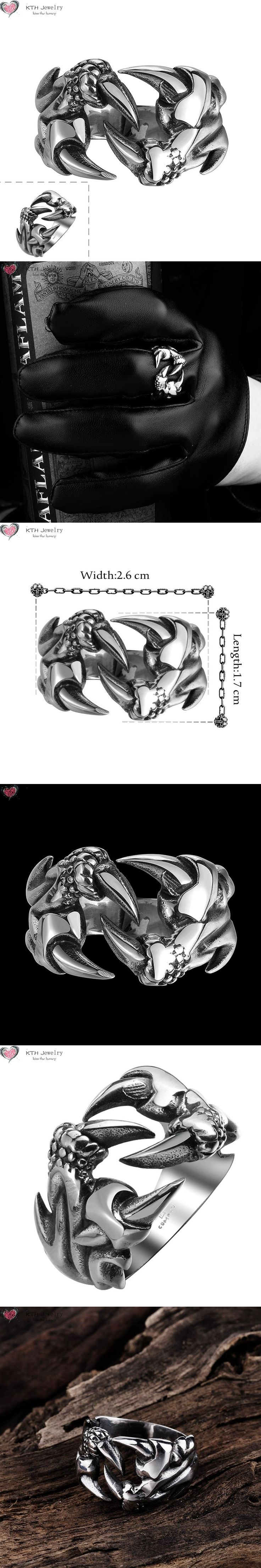 GMYR114 New Desigh Retro Dragon Talons Punk Ring 316L Stainless Steel Titanium Easter Halloween Jewelry