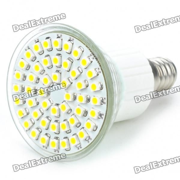 Material:: PVC; Emitter Type:: 3528 SMD LED; Total Emitters:: 48; Power:: 2.5W; Color BIN:: Warm White; Rated Voltage:: AC 85~260V; Luminous Flux:: 145~195LM; Color Temperature:: 3000~3500K; Connector Type:: E14; http://j.mp/1vnTwJE