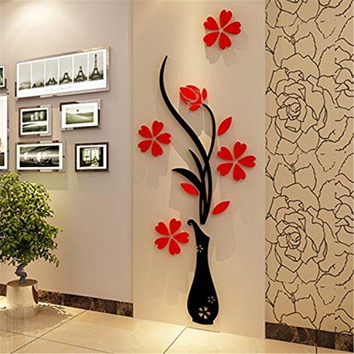 Clever! ** Residence Equipment 3d Wall Ornament Wall Hangings Artistic Ceramic Flower Wall Murals Detachable Wall Decals