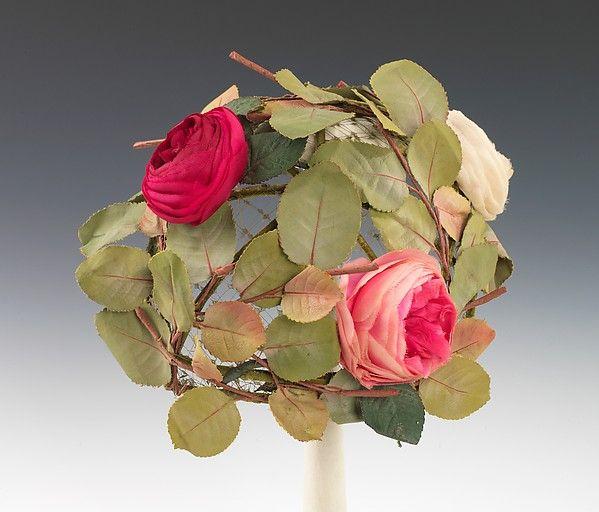 Hat; ca 1960;American; Henri Bendel; exquisite silk roses+leaves