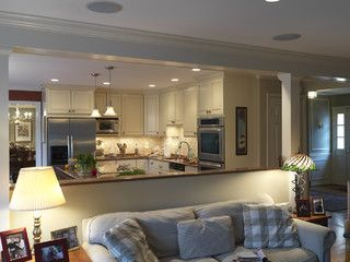 This Half Wall Works Though Still Open Kitchen To Family Room Case Design Remodeling Inc