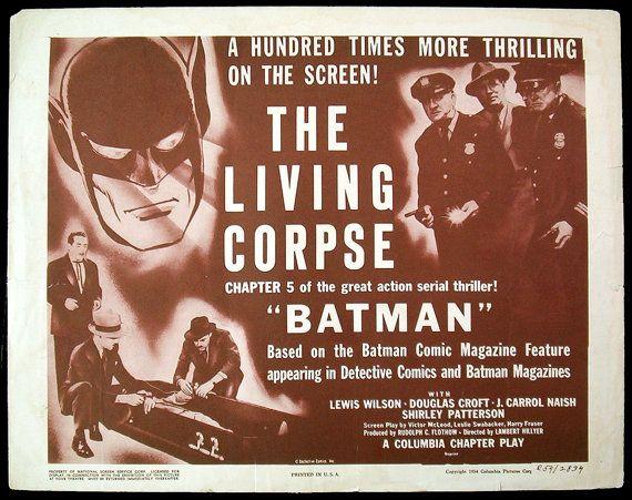 BATMAN movie serial original title lobby card 1954rr