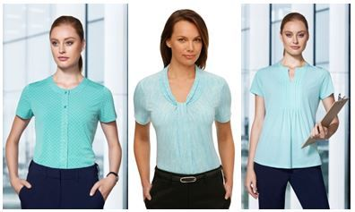 Ladies' green print shirting options from Biz Corporates and City Collection