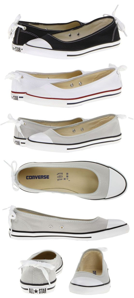 WANT IT :: Converse Chuck Taylor All Star Dainty Ballerina Slip-On / Skimmer :: Sale $44.99, Reg. $50 (Ships Free) | Zappos.com :: I'm thinking about getting a grey pair of these. Since Vans has phased out the grey & checkers on the KVD slip on, I suppose it's time I find another cute slip on. Enter these grey Chuck skimmers...I'll have to try them out in the store next time... | #converse #chucktaylor #converseballerina #converseskimmer #converseflat