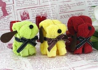 Perritos con toallas para souvenirs. No sewing