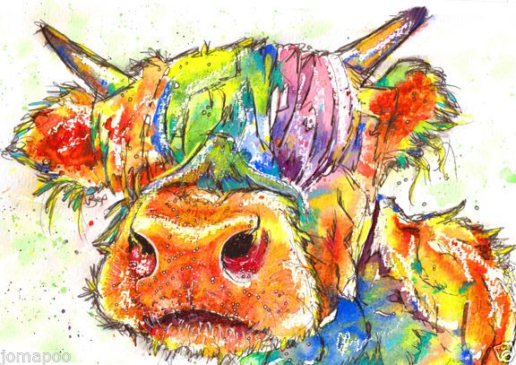 JOSIE P PRINT LARGE A3 of Original Watercolour Painting Highland Cow Scottish