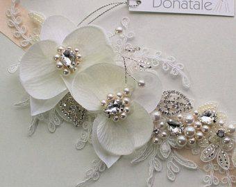 Bridal Sash, Bridal Belt, Wedding Belt, Wedding Sash, Beach Wedding Sash Belt,Ivory Floral Sash, Floral belt, Dress Belt - ORCHID