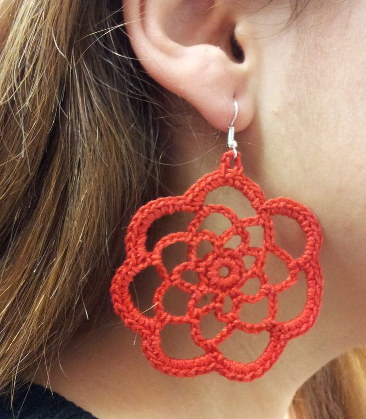 DIY TUTORIAL ENG/ITA ORECCHINI UNCINETTO EARRINGS CROCHET CIRCLE FLOWER ...