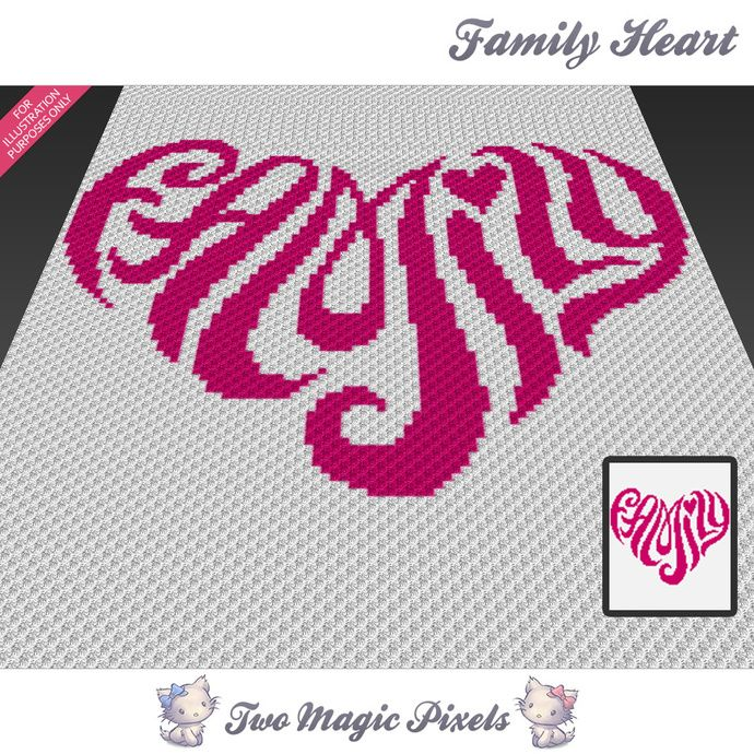 Family Heart c2c graph crochet pattern; instant PDF download;  baby blanket,