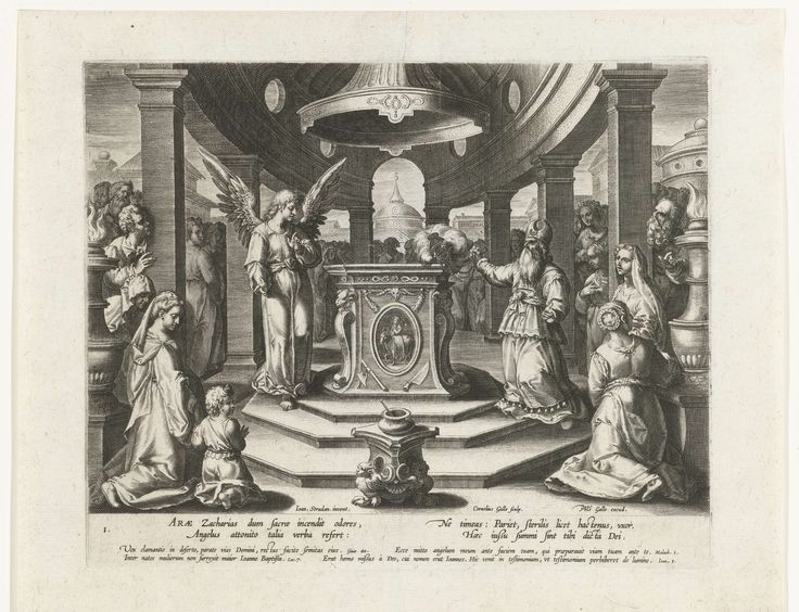 Cornelis Galle (I) | Het offer van Zacharias, Cornelis Galle (I), Philips Galle, Cornelis Kiliaan, after 1595 - c. 1612 | Gezicht op een altaar in een ronde tempel. Zacharias knielt voor het altaar en zwaait met een wierookvat. Links staat een engel die hem de voorspelling van de geboorte van Johannes de Doper doet. Veel omstanders kijken naar de scène. Onder de voorstelling een vers in het Latijn en citaten uit bijbelboeken.