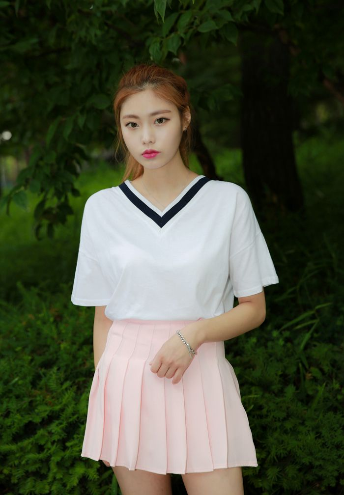 V-Neck Tee and Pleated Skirt