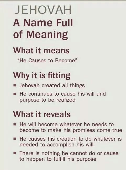The meaning of Jehovah God's name. For more information on Jehovah God & Questions answered from the Bible, Visit www.jw.org