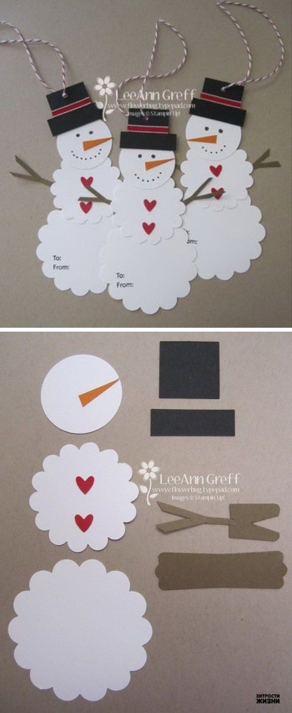 DIY Cute Paper Snowman Gift Tag. Easy and Fun DIY Christmas crafts for You and Your Kids to Have Fun. Jean Sohl