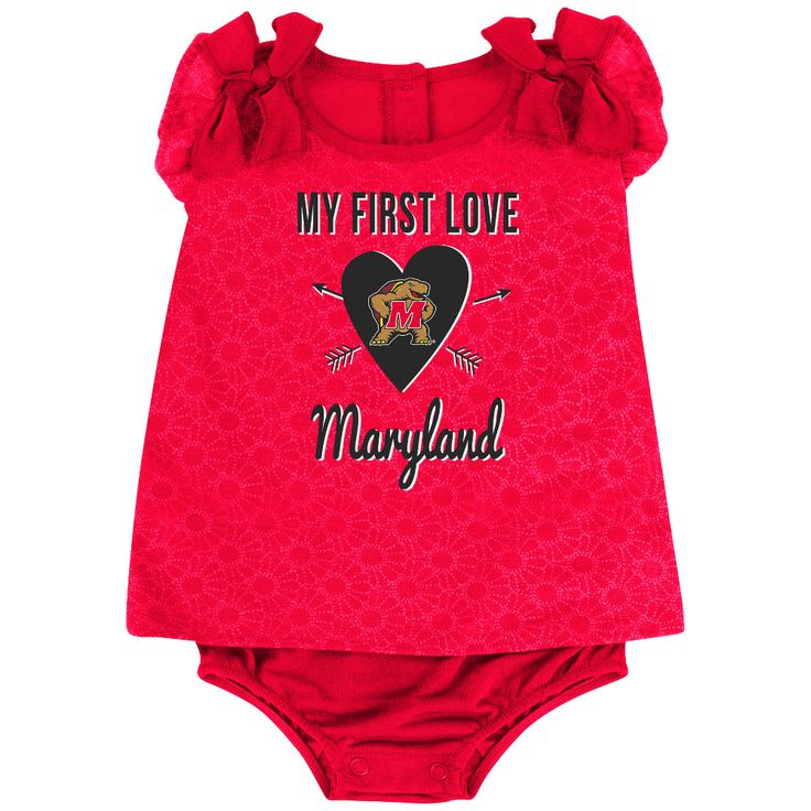 Our Terrapins Baby Girl My First Love Outfit will surely to melt hearts when your little one puts it on! The 100% poly/rayon blend athletic fabric Onesie dress features official Maryland team colors and screen-printed logos. The shoulders are decorated with sweet, ruffle bows. Comes in Maryland infant sizes 0-3m, 3-6m, and 6-12m.