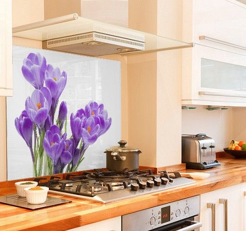 Crocus purple diy kitchen glass splashback