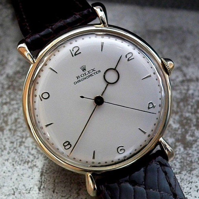 "womw: ""A good morning with this beautiful 1940′s Bull Horn Lug Rolex Chronometer with moon hour hand….. by sonningvintagewatches from Instagram http://ift.tt/1MLQbwj """
