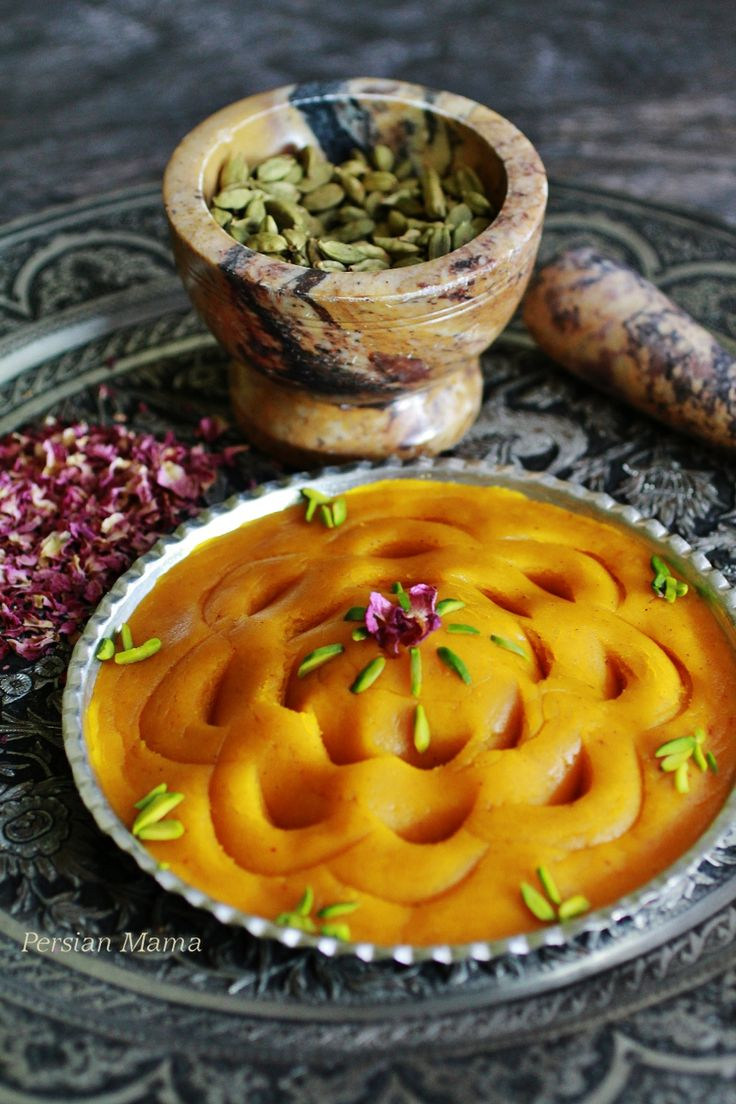 Tar Halva is a traditional Persian dessert with saffron, cardamom, rosewater, and a smooth texture that melts in the mouth