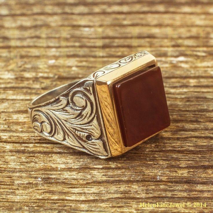 Sultan Suleıman Square Shape with Agath Stone Ottoman Jewelry Man Ring 925SS #Handmade