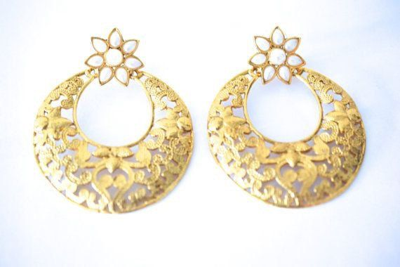 Gold tone pearl earrings wedding bridal by BeautifulByBetter