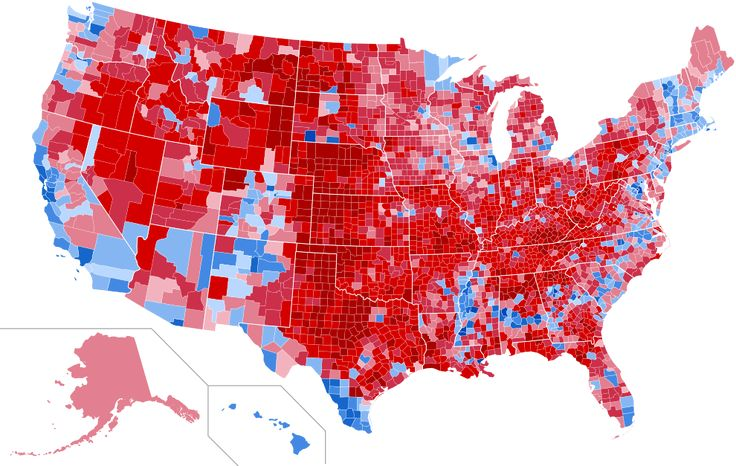United States presidential election results by county, 2016 - United States presidential election, 2016. Lot of red there.