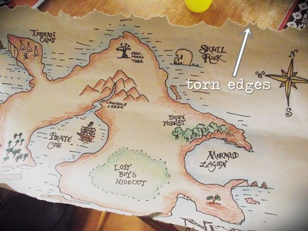 Greatfun4kids: Planning a Peter Pan Party -How to Make a Map of Neverland