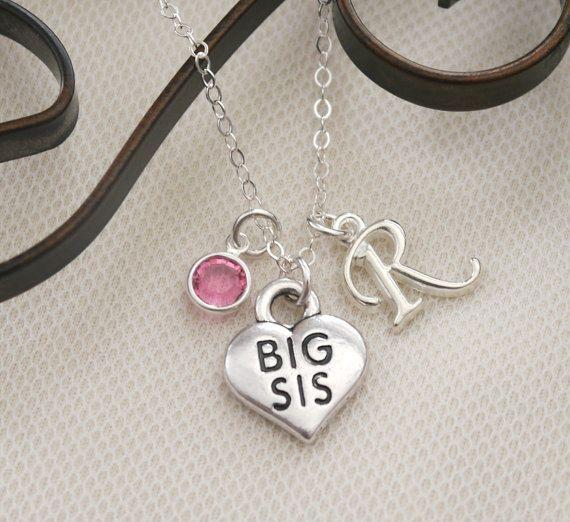 Big Sister Necklace, Big Sister Heart Necklace, Personalized Big Sister Necklace, Silver Big Sister, Custom Letter Stone, CLCB