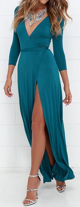 Teal Blue Wrap Maxi Dress
